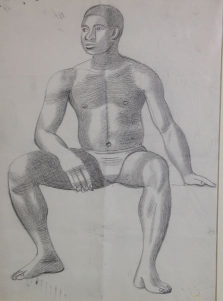 Male Life Study, Black, Sitting, Front View