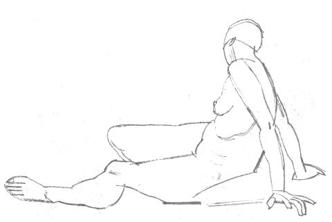 Female Life Study, Sitting on the Floor, Propped on Arms