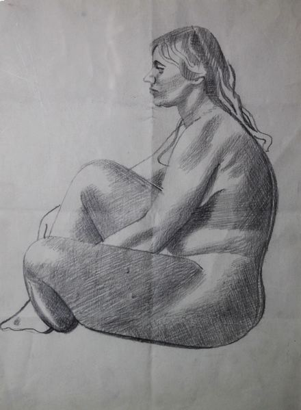 Female Life Study, Sitting on the Floor, in Profile