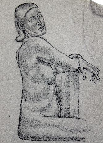 Female Life Study, with Hand Raised