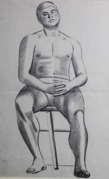 Male Life Study, Sitting, with Interlaced Fingers