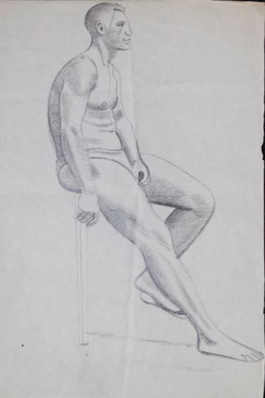 Male Life Study, Sitting, with Leg Extended