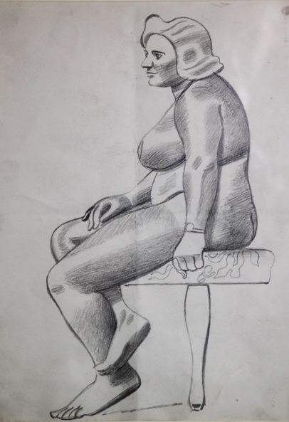 Female Life Study, in Profile on Padded Seat