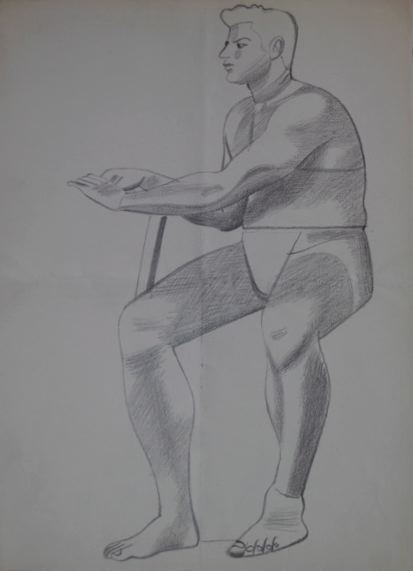 Male Life Study, Sitting, with Propped Arm