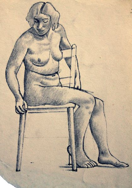Female Life Study, Sitting on a Chair