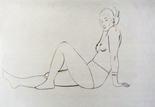 Female life study, sitting on the floor, propped on arms, one knee bent